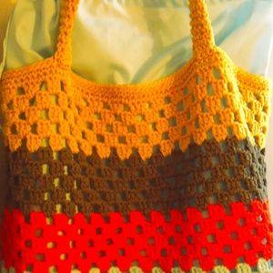 Knitted Shopper Bag Strong Nylon Stripes